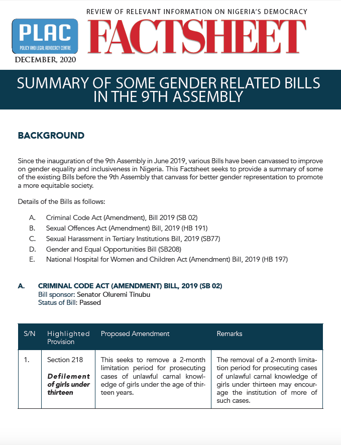 Summary on Some Gender Related Bills in the 9th Assembly